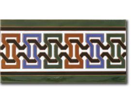 Azulejo árabe pintado a mano cenefa P530